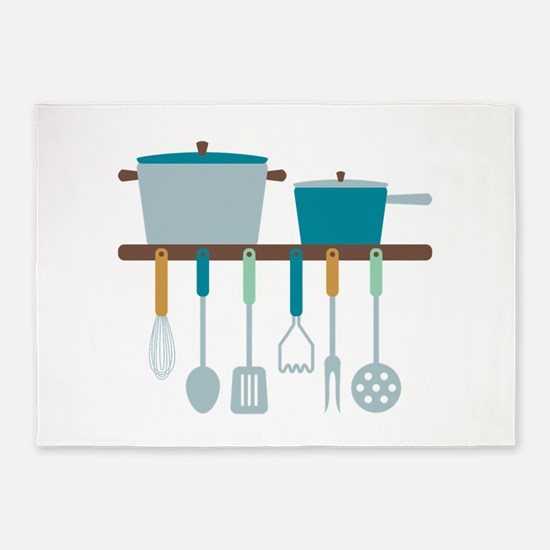 Kitchen Cooking Utensils Pots 5'x7'Area Rug