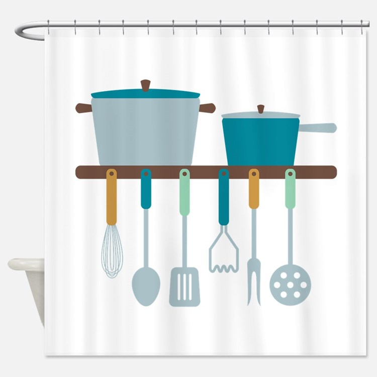 Kitchen Cooking Utensils Pots Shower Curtain
