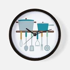 Kitchen Cooking Utensils Pots Wall Clock
