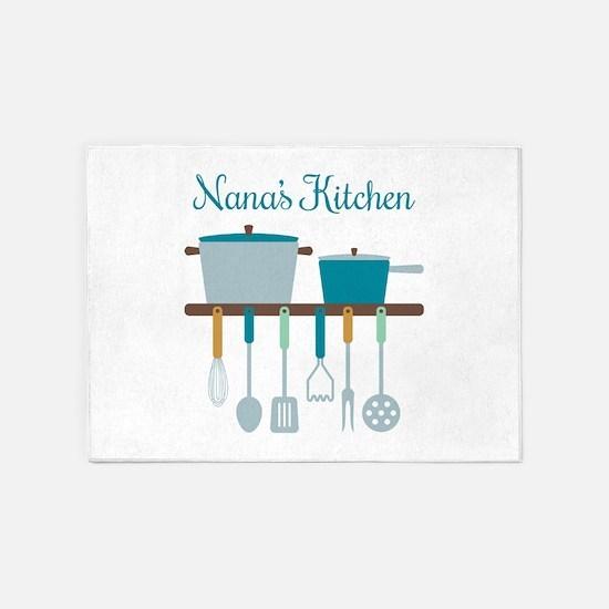 Nana Kitchen Cooking Utensils Pots 5'x7'Area Rug