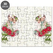Monogram Z Christmas Couple Puzzle