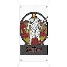 Jesus Crushes Satan's Head Banner