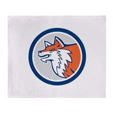 Red Fox Head Pouncing Circle Retro Throw Blanket