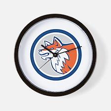 Red Fox Head Pouncing Circle Retro Wall Clock