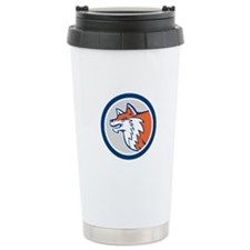 Red Fox Head Pouncing Circle Retro Travel Mug