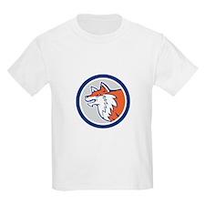Red Fox Head Pouncing Circle Retro T-Shirt