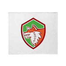 Red Fox Head Pouncing Shield Retro Throw Blanket