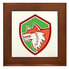 Red Fox Head Pouncing Shield Retro Framed Tile