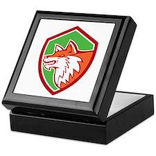 Red Fox Head Pouncing Shield Retro Keepsake Box