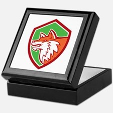 Red Fox Head Pouncing Shield Retro Keepsake Box