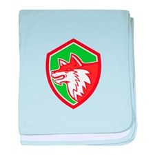 Red Fox Head Pouncing Shield Retro baby blanket
