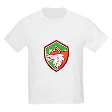 Red Fox Head Pouncing Shield Retro T-Shirt