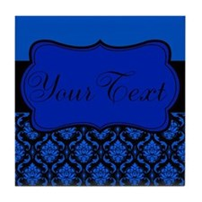 Blue Black Personalized Tile Coaster