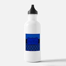 Blue Black Personalized Water Bottle