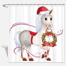 Peace on Earth Christmas Horse Shower Curtain
