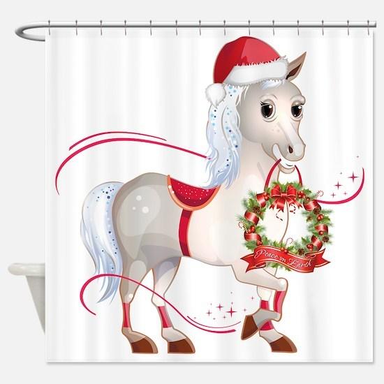 Peace on Earth Christmas Horse Shower Curtain