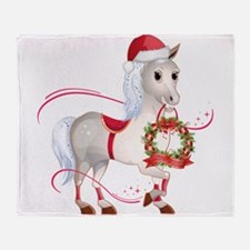 Peace on Earth Christmas Horse Throw Blanket