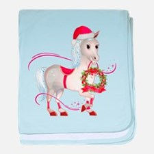 Peace on Earth Christmas Horse baby blanket