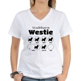 Stubborn westie tricks Womens V-Neck T-shirts