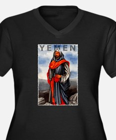 Vintage Yemen Art Women's Plus Size V-Neck Dark T-