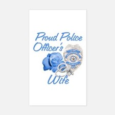 Blue Rose Police Wife Rectangle Decal