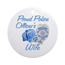 Blue Rose Police Wife Ornament (Round)