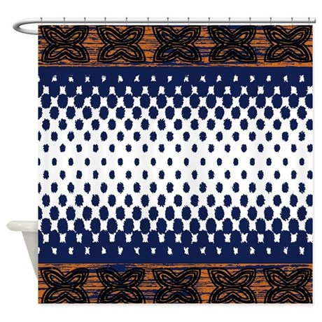 Ikat Shower Curtain Navy And Orange Fade Design By PickYourPerfectOriginals