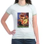 Mandolin Angel & Doxie (BT) Jr. Ringer T-Shirt