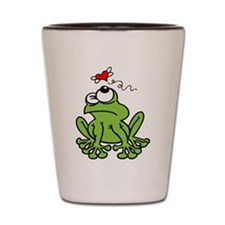 Cute Frog with Butterfly Heart Shot Glass