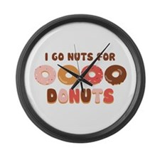 Go Nuts for Donuts Large Wall Clock