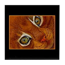 Cat Eyes Ginger Cat Portrait Tile Coaster