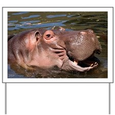 Happy African Hippo in water Yard Sign