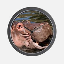 Happy African Hippo in water Wall Clock