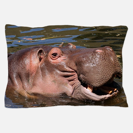 Happy African Hippo in water Pillow Case