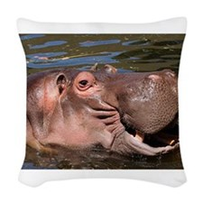 Happy African Hippo in water Woven Throw Pillow