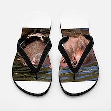 Happy African Hippo in water Flip Flops