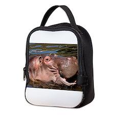 Happy African Hippo in water Neoprene Lunch Bag