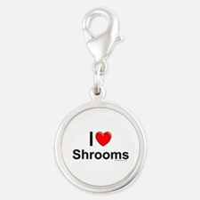 Shrooms Silver Round Charm