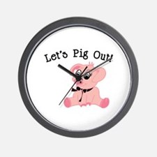 Lets Pig Out Wall Clock
