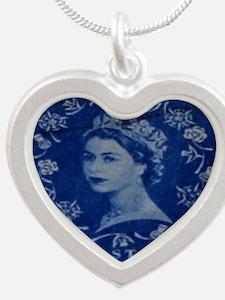 Queen Elizabeth stamp blue i Silver Heart Necklace