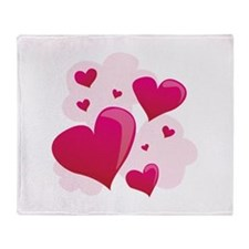Hearts In Clouds Throw Blanket