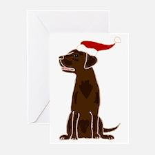 Christmas Chocolate Labrador Greeting Cards