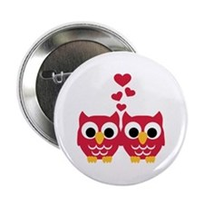 "Red owls hearts 2.25"" Button"