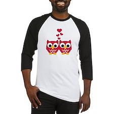 Red owls hearts Baseball Jersey