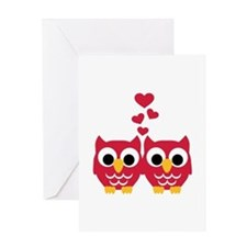 Red owls hearts Greeting Card