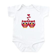 Red owls hearts Infant Bodysuit