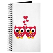 Red owls hearts Journal