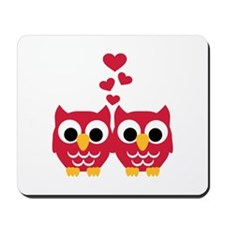Red owls hearts Mousepad