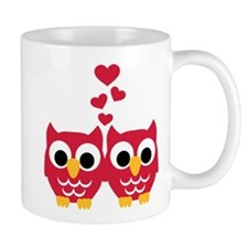 Red owls hearts Mug
