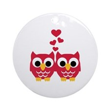 Red owls hearts Ornament (Round)